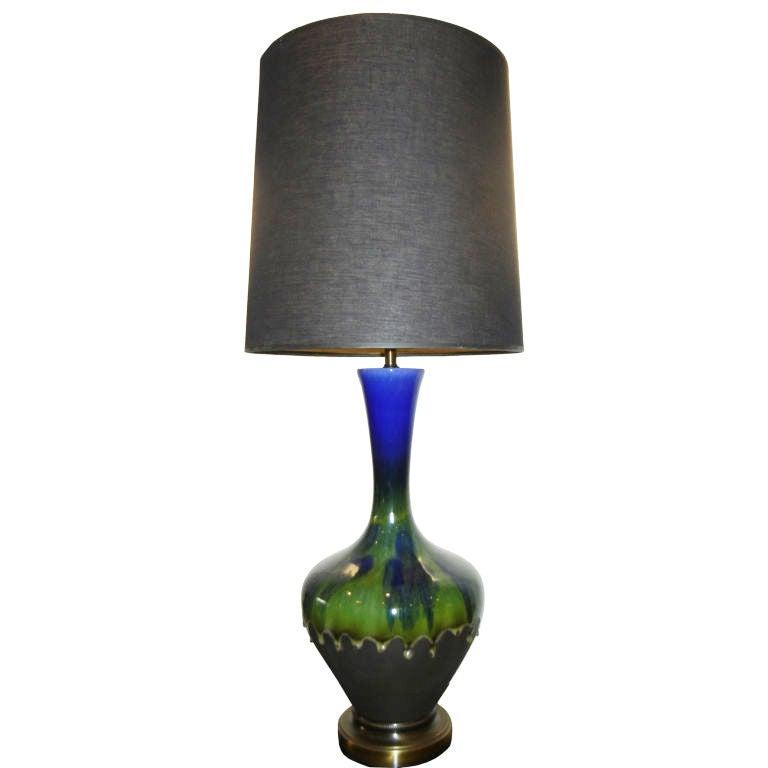 A  Rare 1970s Studio Graphite & Ceramic Tall Table Lamp