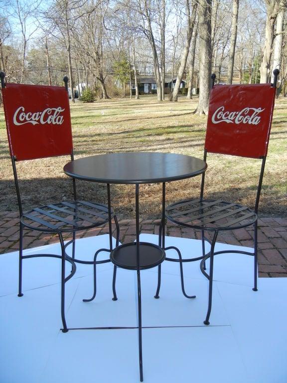 A coca cola bistro table and chairs trio americana 1950s at 1stdibs - Coca cola table and chairs set ...