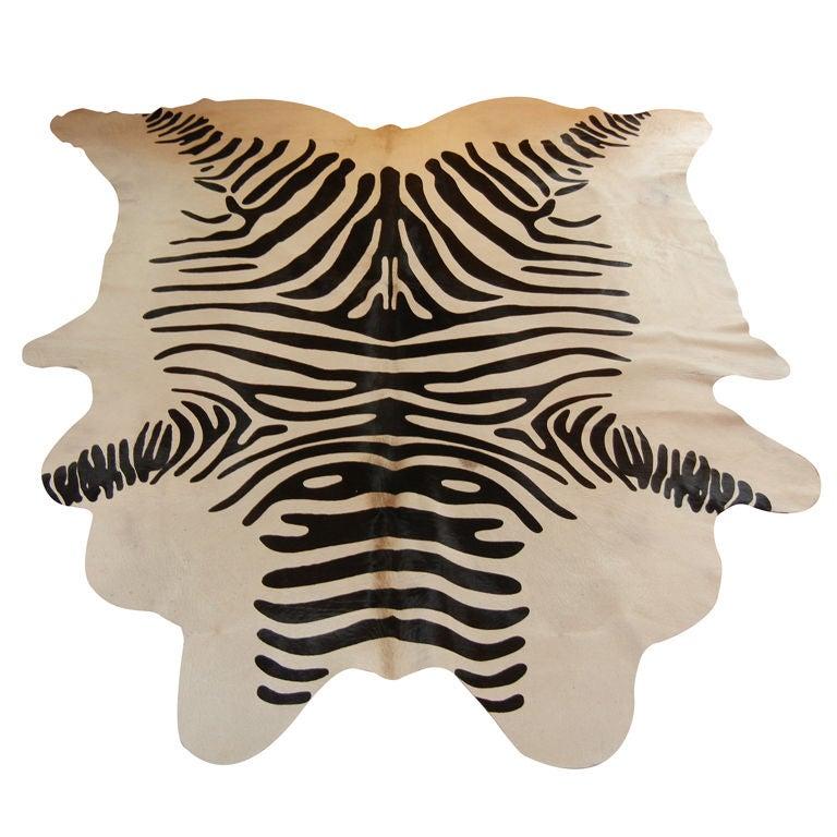 Zebra Sculpture Area Rug: Large Zebra Print Steer Hide Area Rug At 1stdibs