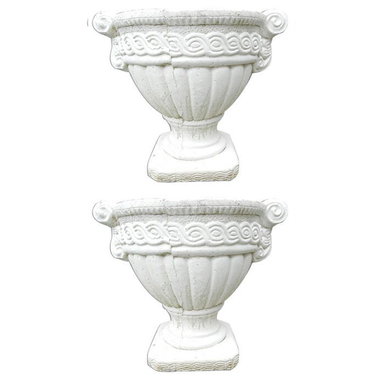 Pair of Vintage French Stone White Planters