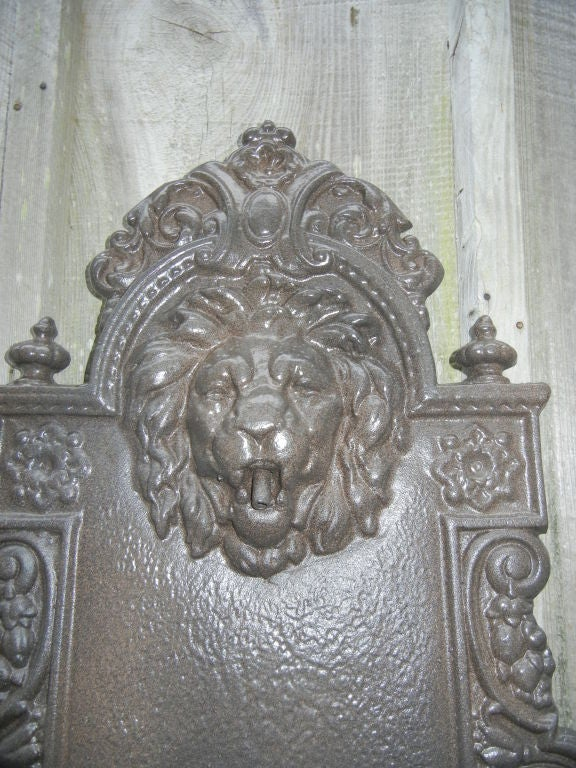 Chippendale English Cast Iron, Lion Head Fountain/Planter For Sale