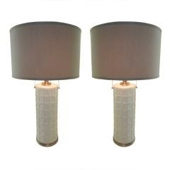 Pair,Tall Ceramic & Chrome 70s Lamps