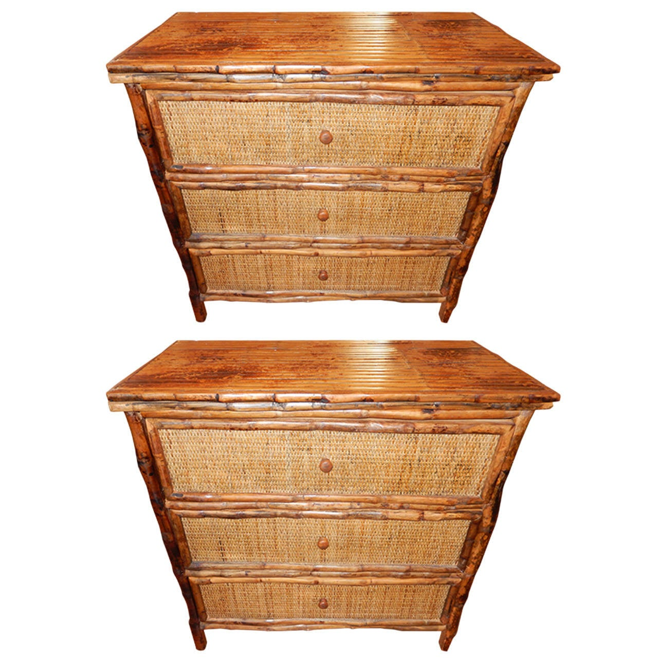 Pair of West Indies Bamboo and Cane Three-Drawer Chest of Drawers 1