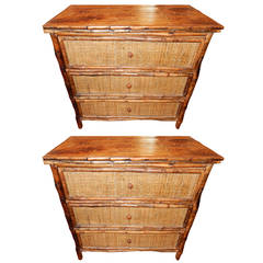 Pair of West Indies Bamboo and Cane Three-Drawer Chest of Drawers
