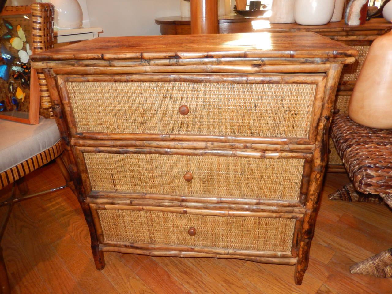 Pair of West Indies Bamboo and Cane Three-Drawer Chest of Drawers 5