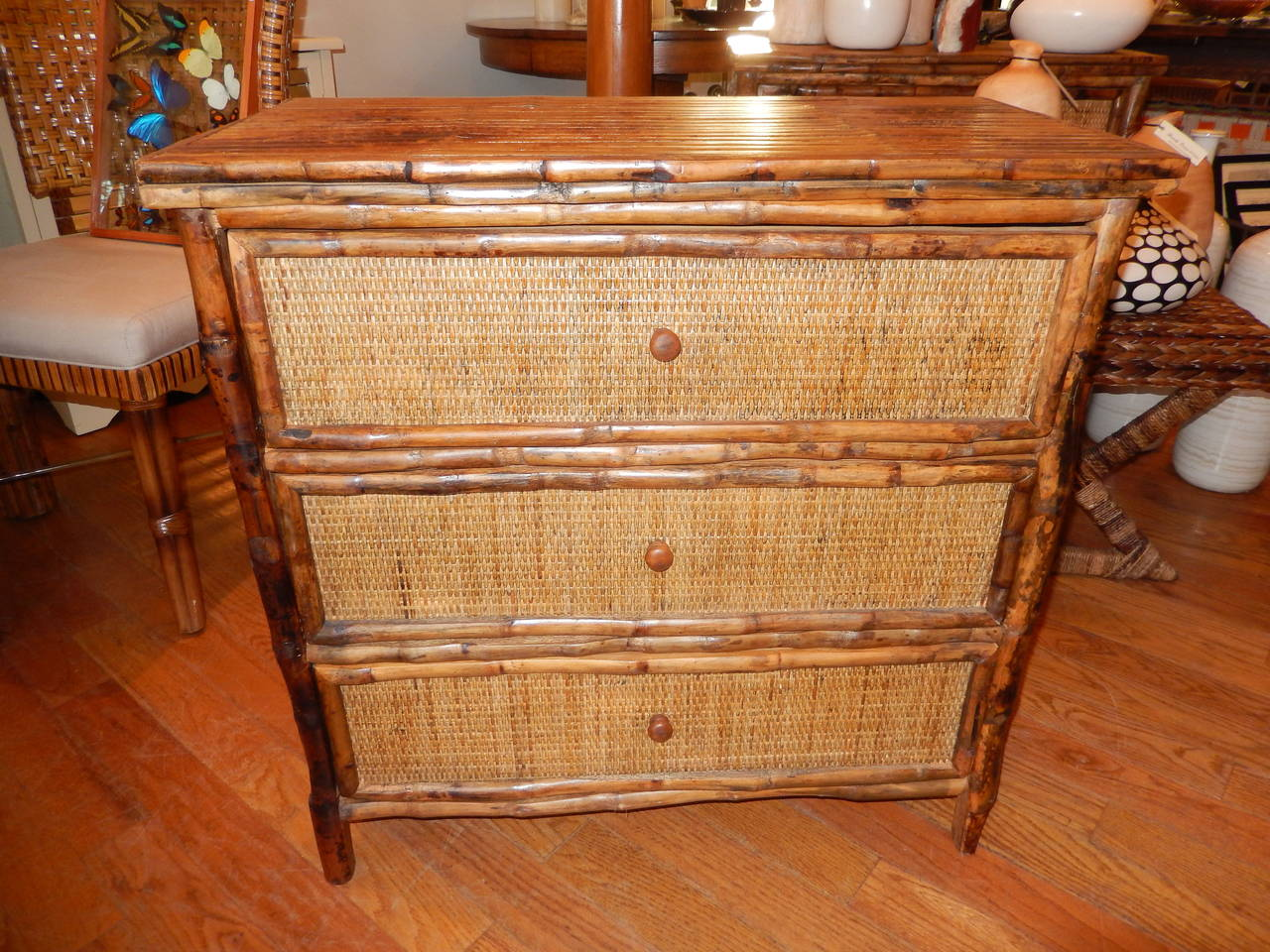 Pair of West Indies Bamboo and Cane Three-Drawer Chest of Drawers 4
