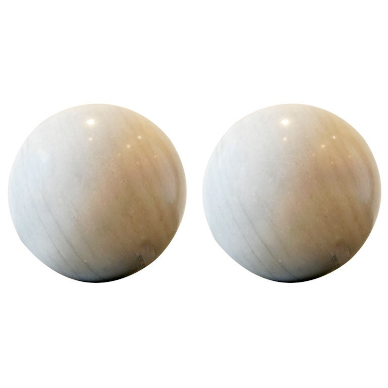 Two large marble spheres at stdibs