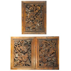 Three  Antique Chinese Hand Carved  Panels/Doors