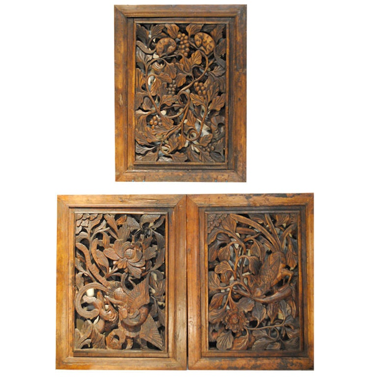 Three Antique Chinese Hand Carved Panels Doors At 1stdibs