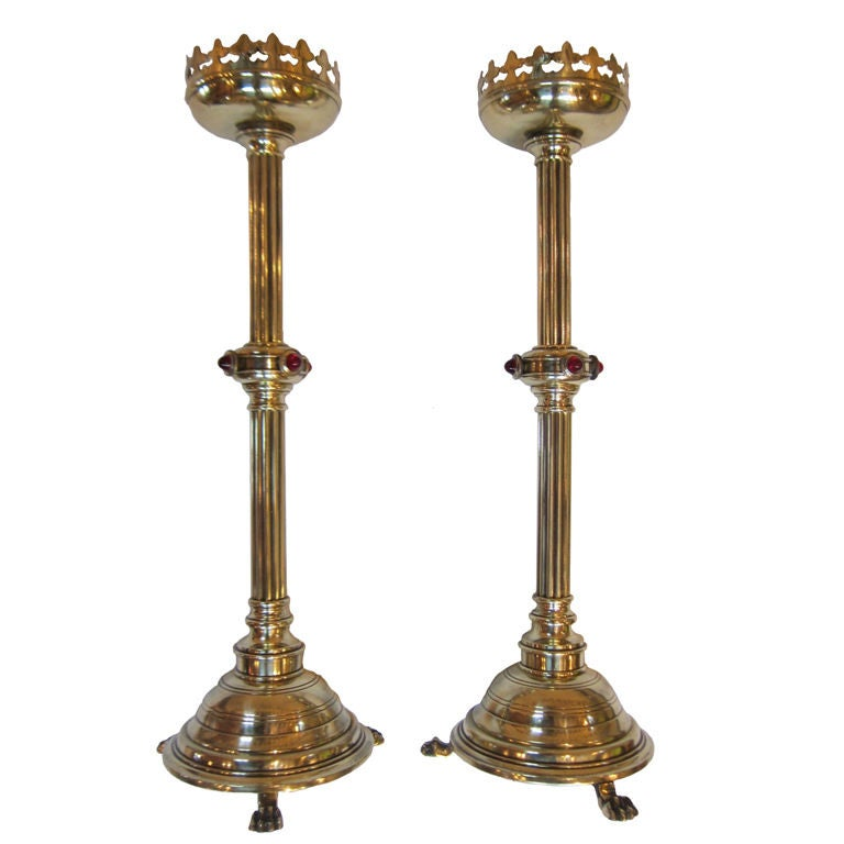 Brass Candlesticks magnificent pair of gothic style english brass candlesticks at 1stdibs