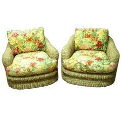 Pair,Bahama Wicker Swivel Arm Chairs.