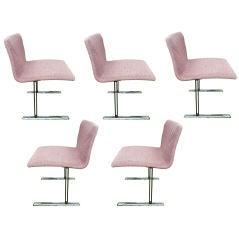 Set of Five Saporiti Chrome 1980s Chairs
