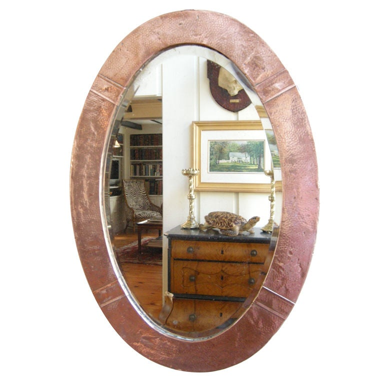 English, Arts & Crafts Movement Copper Mirror