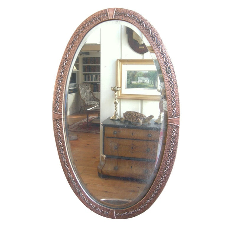 English, Arts & Crafts Movement  Decorated Copper Mirror For Sale