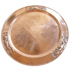 A Rare Late 19th Century Solid Copper  Hand Hammered Tray