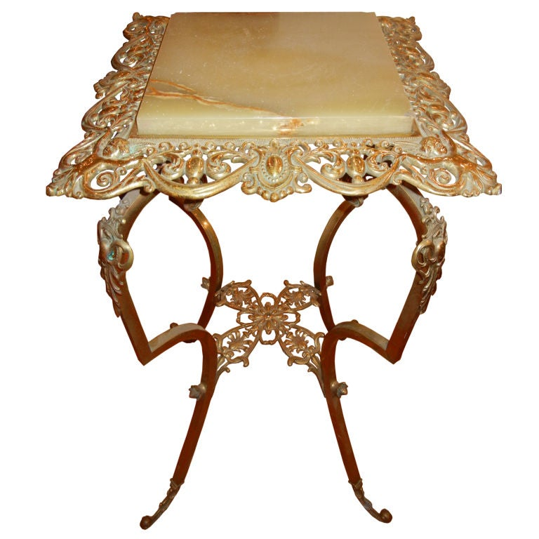 Elegant Brass and Onyx 19th Century End Table