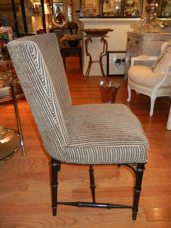 Four  Regency Style Ebony Bamboo Upholstered Dining Chairs 3