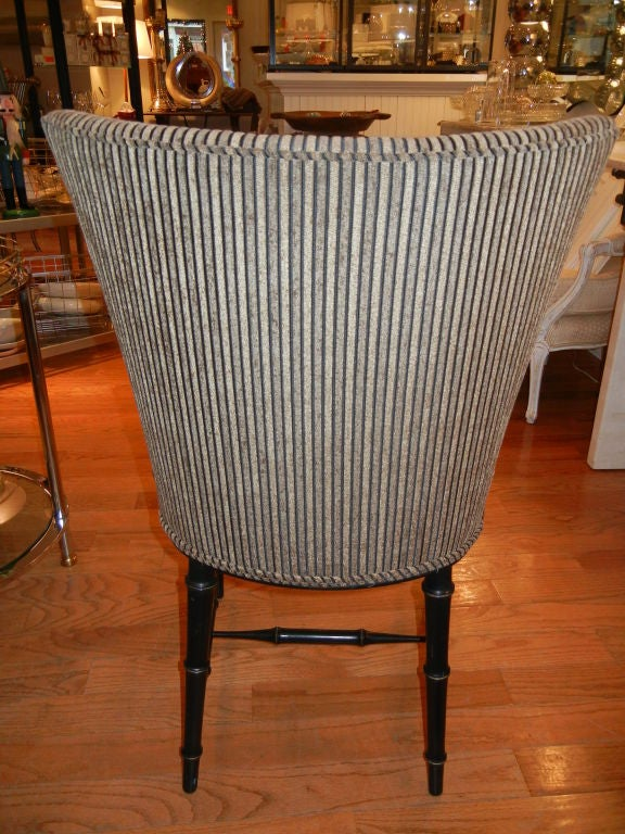 Four  Regency Style Ebony Bamboo Upholstered Dining Chairs 4