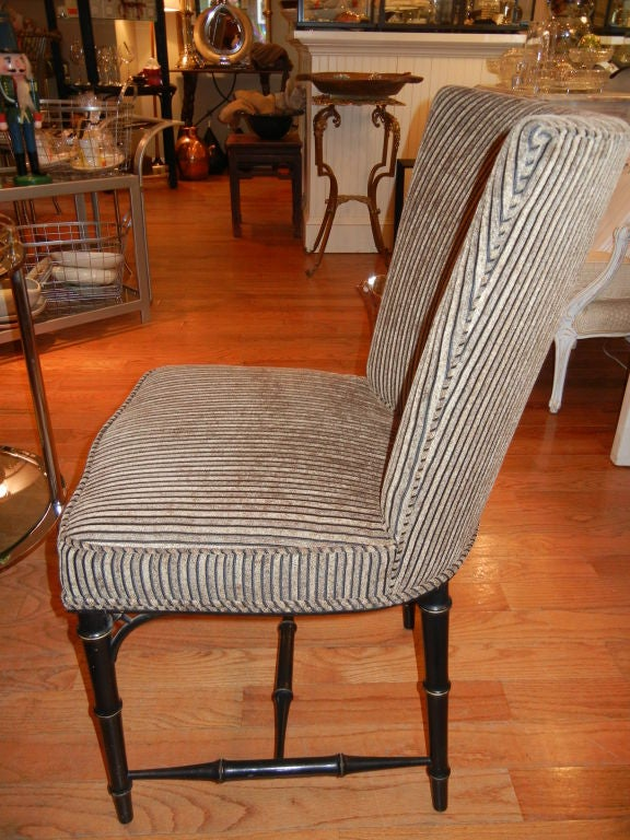 Four  Regency Style Ebony Bamboo Upholstered Dining Chairs 5
