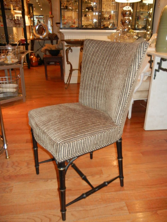 Four  Regency Style Ebony Bamboo Upholstered Dining Chairs 8