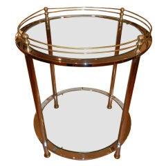 A Chrome & Brass Circular Bar Cart, Mid-Century, from Italy