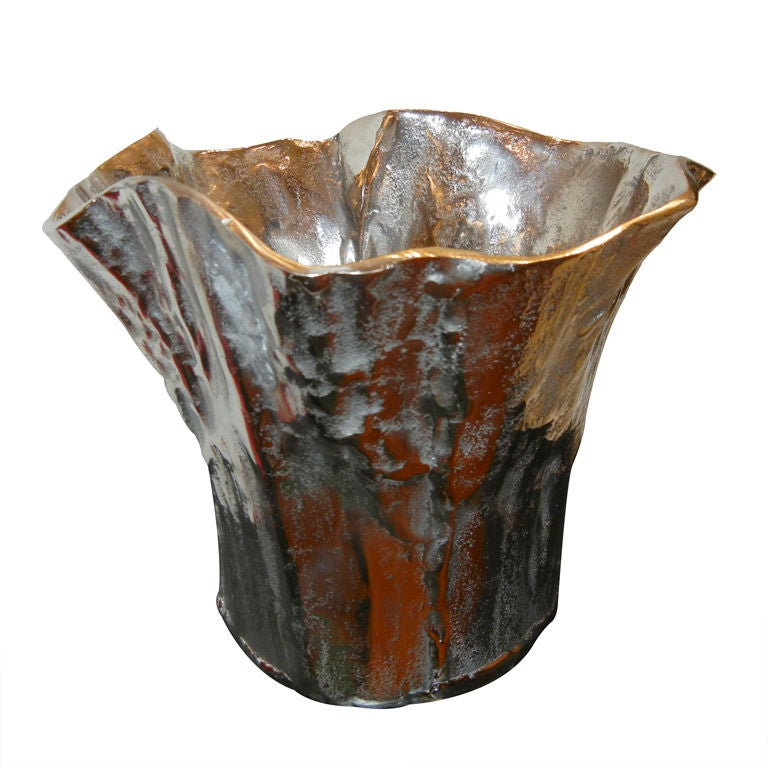 Silver Planter: A Large Sculptural Silver-plated Planter/Vessel At 1stdibs