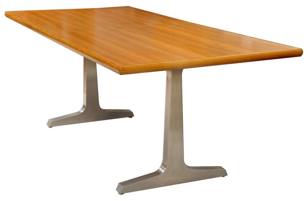 teak and steel dining room table studio craft artist david