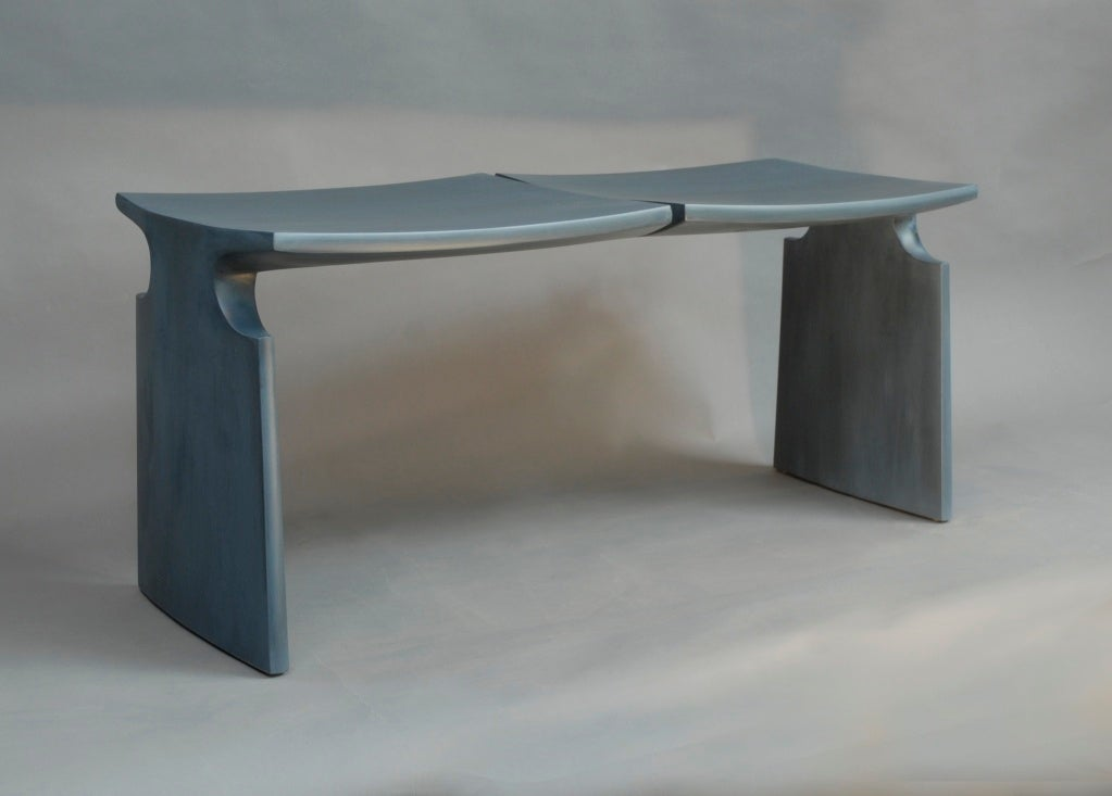 An MFA (Museum of Fine Arts) burnished blue milk paint bench over maple wood, by American studio Craft artist David N. Ebner.  Note: All works signed by the artist, David N. Ebner.  Please see the newly published book