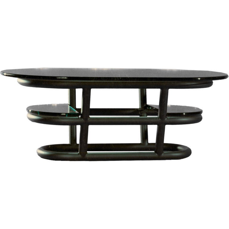 Designed by American Studio Craft Artist David N. Ebner, this spectacular three tier coffee table is made of tubular metal with an exceptional custom graphite finish.  Note: All works signed by the artist, David N. Ebner.  Please see the newly