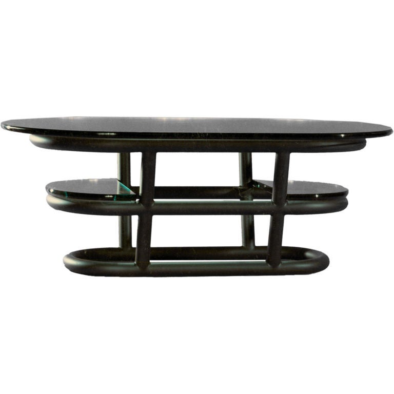 David N. Ebner Three-Tier Tubular Metal Coffee Table For Sale