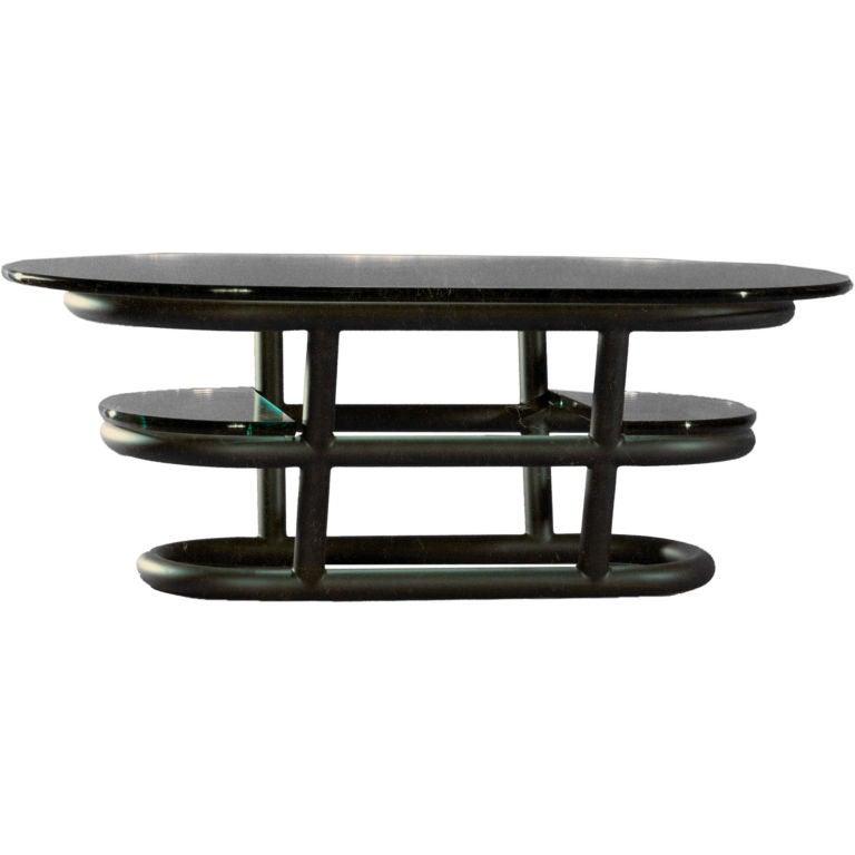 A David N Ebner Three Tier Tubular Metal Coffee Table At 1stdibs