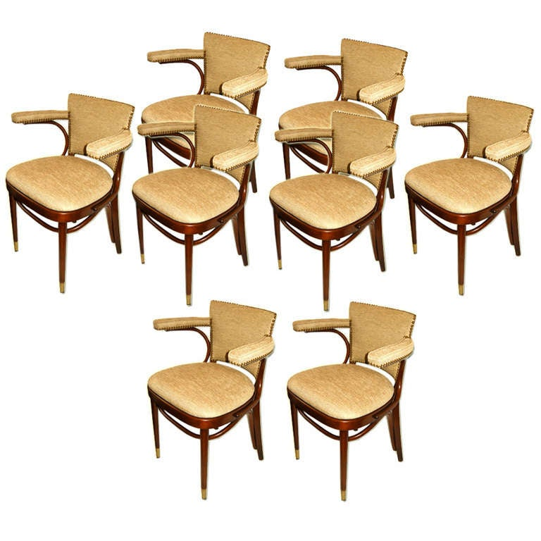 Eight mid century thonet bent wood dining room chairs at for S bent dining room furniture