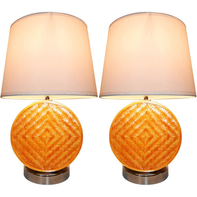 Lamp 1960 Novelty Lighting : Pair of Danish Chrome and Rattan 1960s Lamps. at 1stdibs