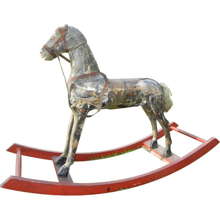 A Late 19thc Primitive  Americana Wooden Rocking Horse 1