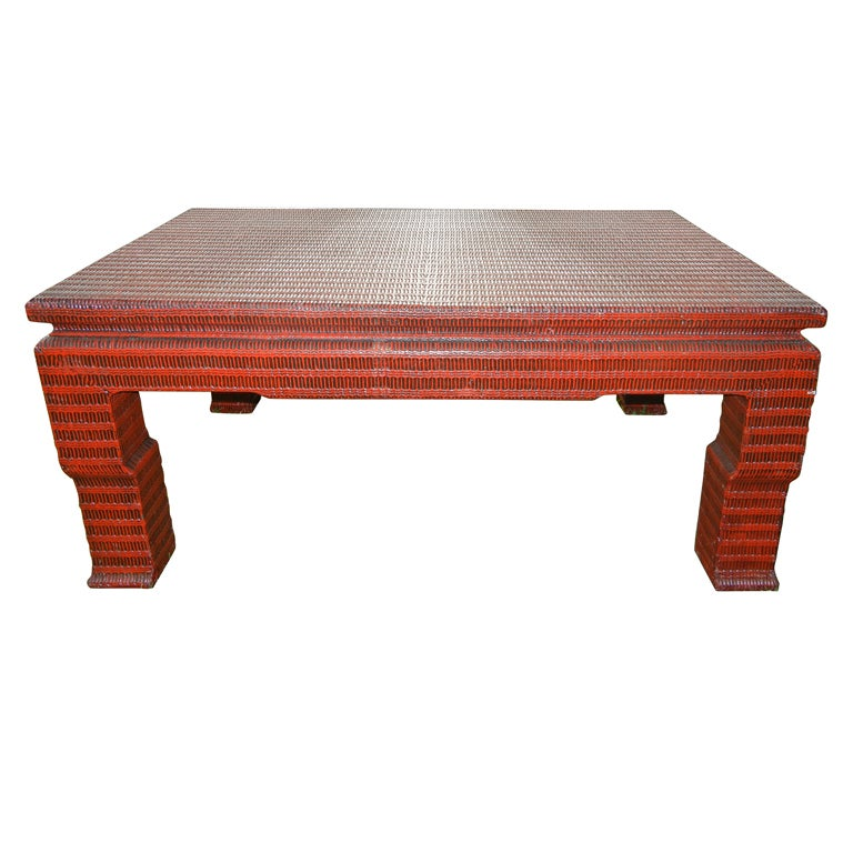Studio Crafted Patterned Raffia Covered Coffee Table At 1stdibs