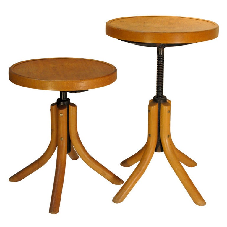 Matching Pair Of Adjustable Beechwood Thonet Stools At 1stdibs