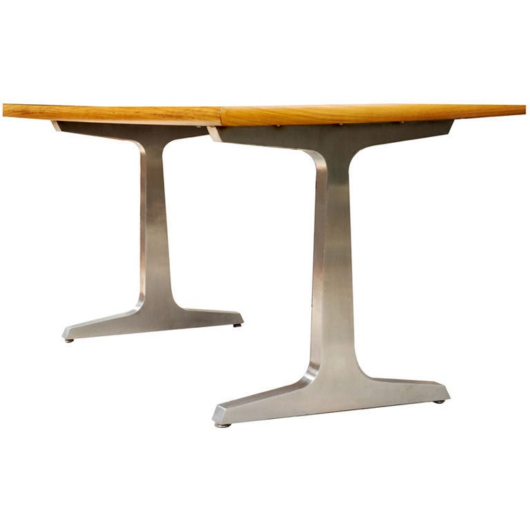 Industrial steel and teak desk or table by American studio craft artist David N. Ebner. Can be crafted to any specification.  Note: All works signed by the artist, David N. Ebner.  Please see the newly published book