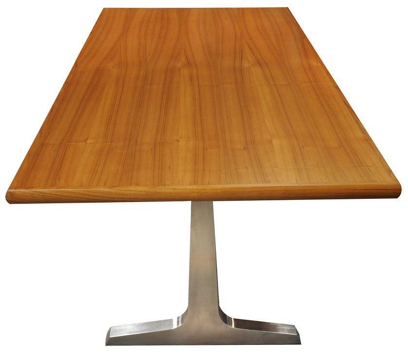 American Craftsman Teak and Steel Desk or Table by American Studio Craft Artist, David N. Ebner For Sale