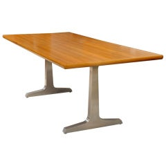 Teak and Steel Desk or Table by American Studio Craft Artist, David N. Ebner