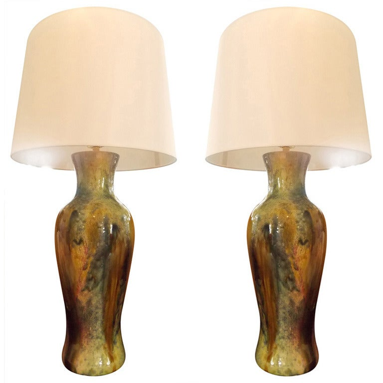 Pair of Modern Handcrafted Danish 1970s Ceramic Lamps
