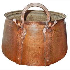 English Massive Hammered Copper Cauldron