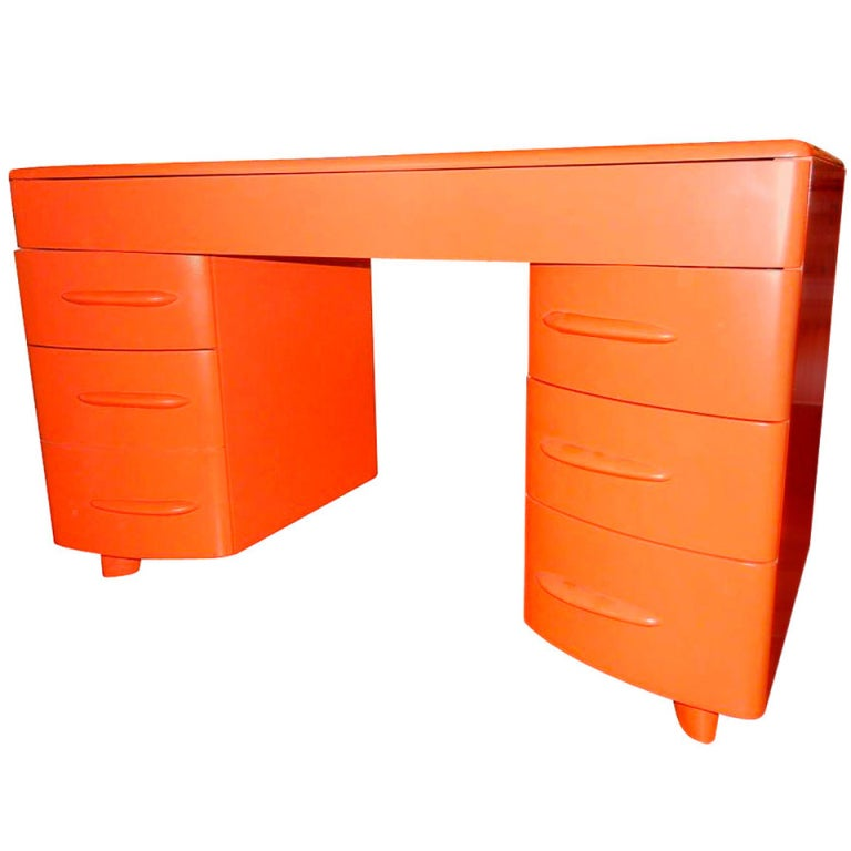 A retro bright orange danish modern 1960s desk at 1stdibs - Orange floating desk ...