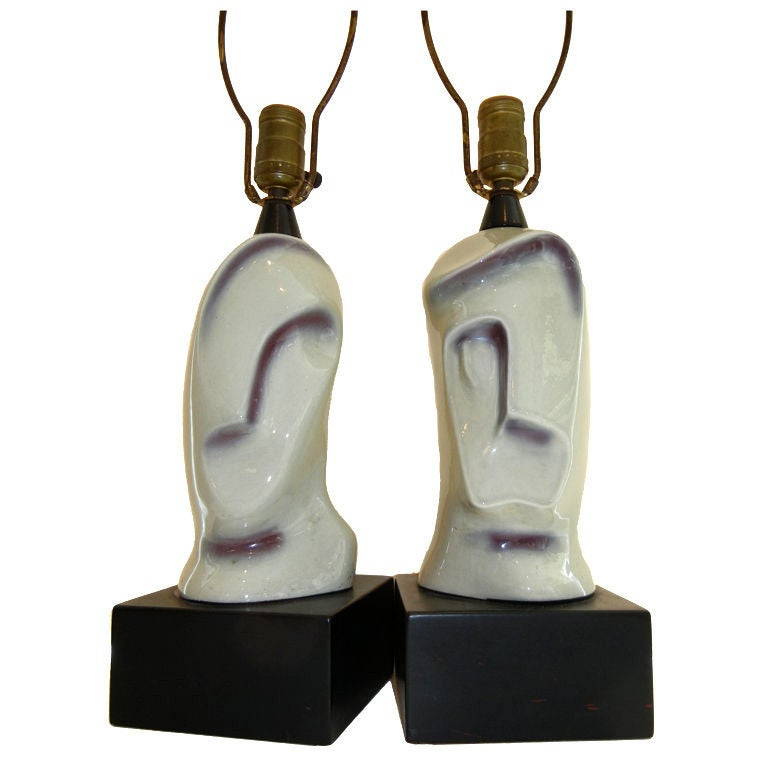 "Pair of Rare Picasso Style Handcrafted Ceramic Lamps, ""His & Hers"""