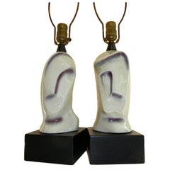 """Pair of Rare Picasso Style Handcrafted Ceramic Lamps, """"His & Hers"""""""