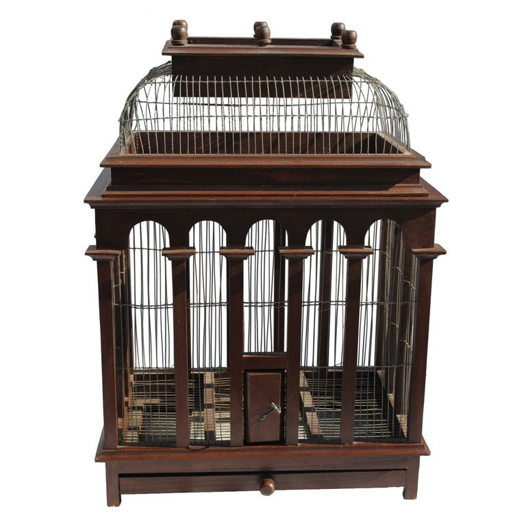 A 19thc English Wood And Wire Birdcage At 1stdibs