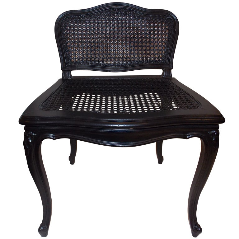 A French Painted Wood U0026 Cane Vanity Chair.