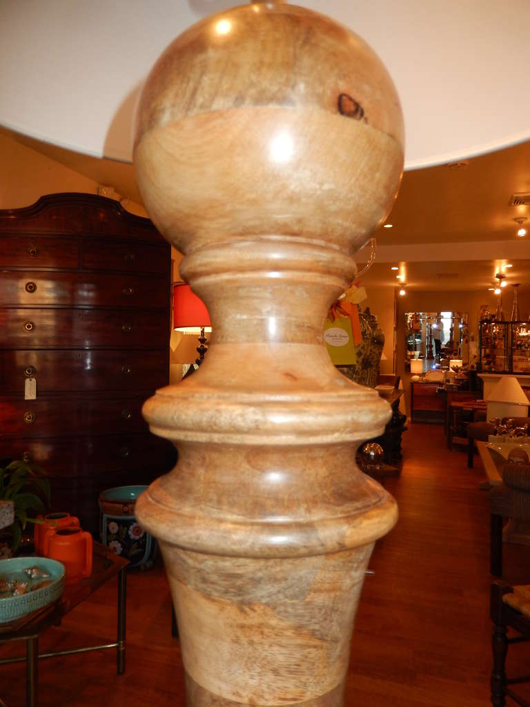 Hand-Crafted Hand Turned Mango Wood Standing Lamp For Sale