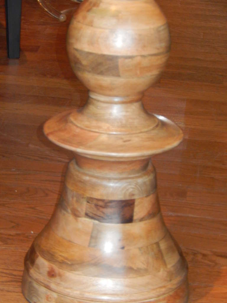 American Hand Turned Mango Wood Standing Lamp For Sale