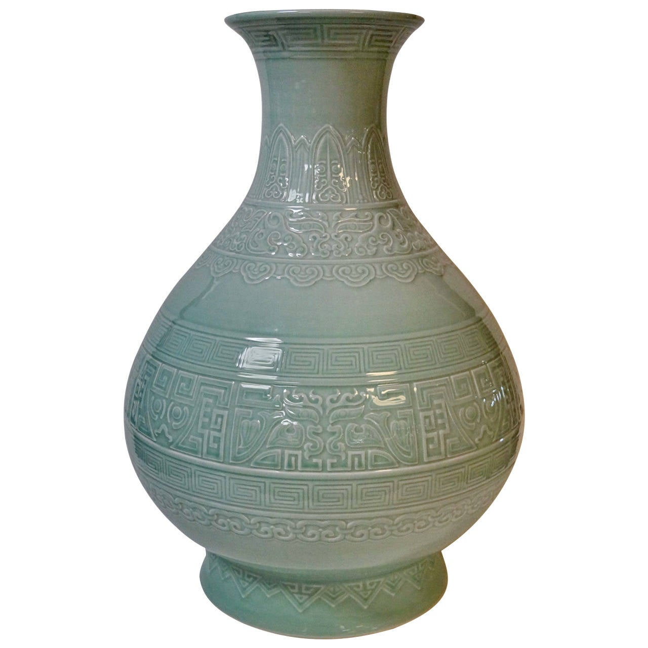 Palace Size Asian Celadon Vase at 1stdibs