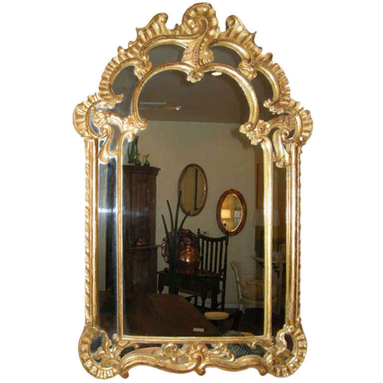 French Gesso Late 19th Century Rococo Wall Mirror